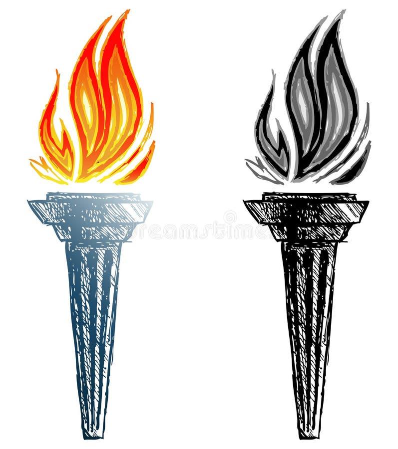 Горящий факел иллюстрация вектора