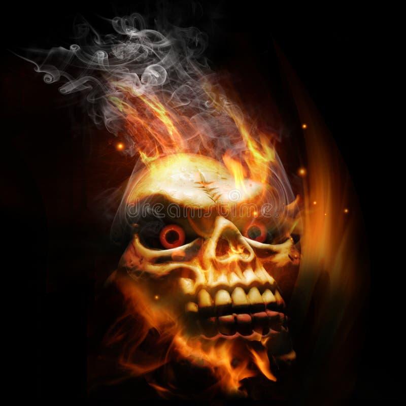 горящий череп иллюстрация штока