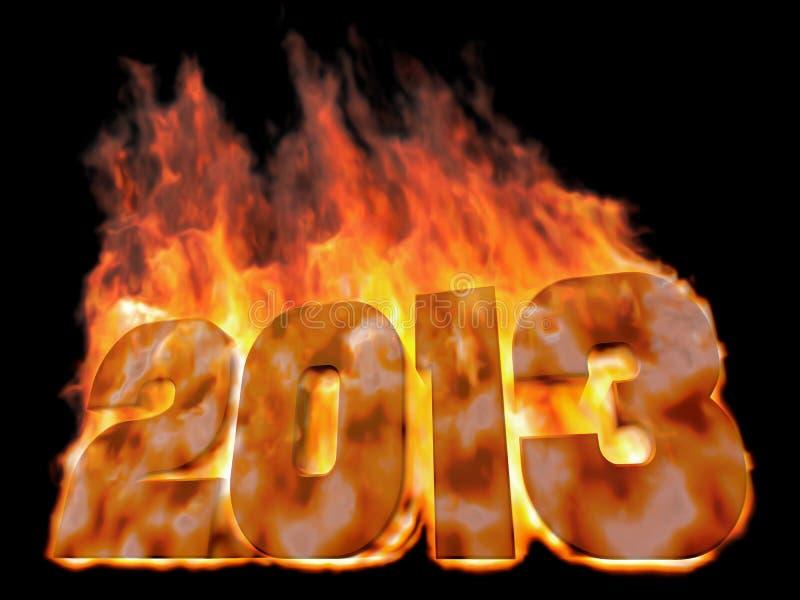 Горящий 2013 иллюстрация штока