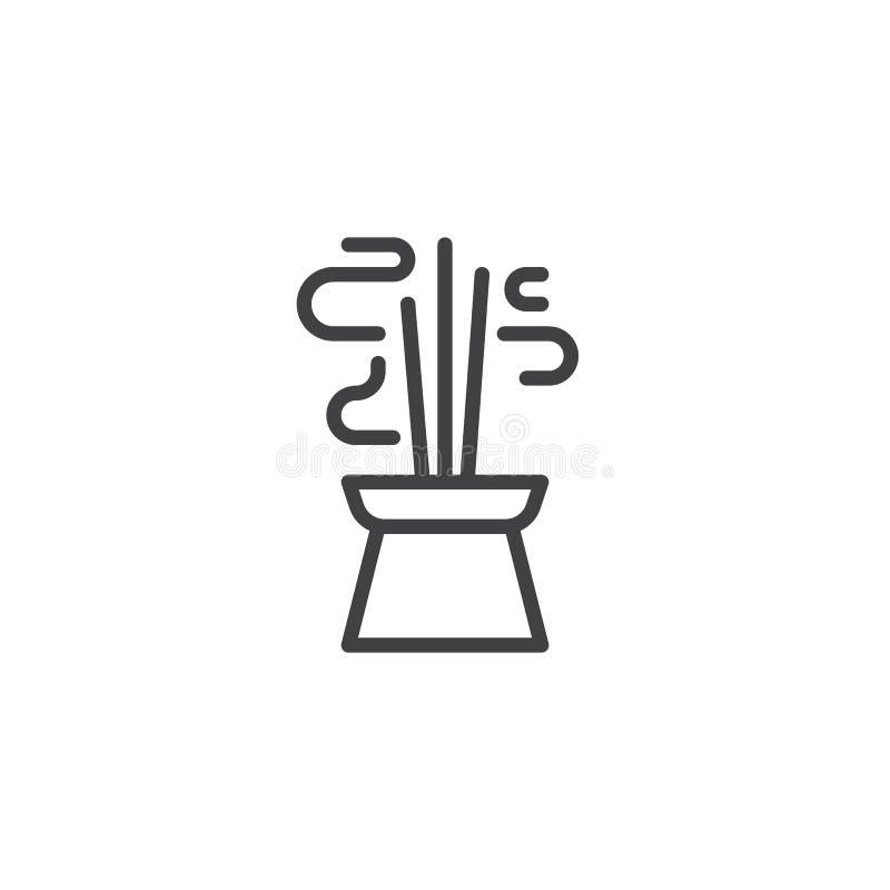 Горя ароматичные ручки ладана выравнивают значок иллюстрация штока