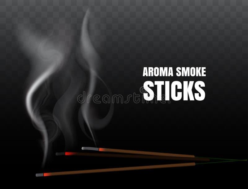 Горя индийские ручки ароматности ладана с реалистическим дымом иллюстрация штока