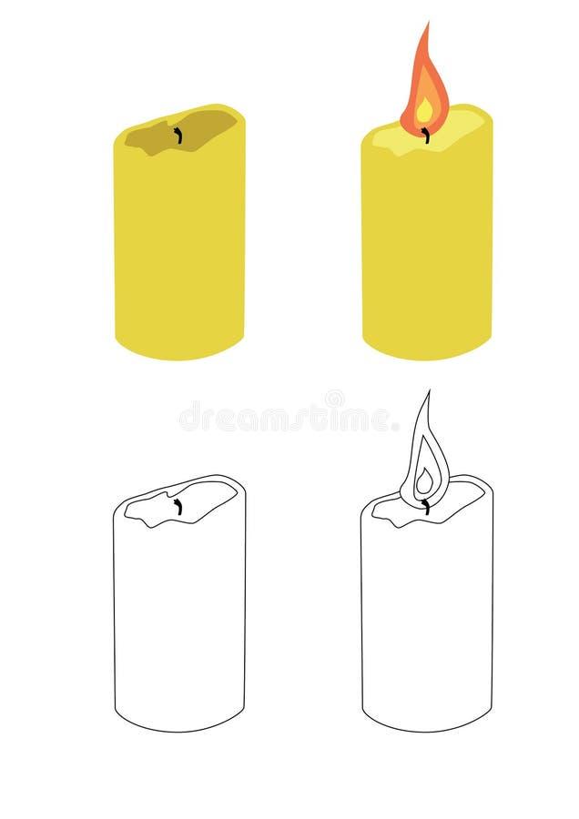 Горя свеча и потушенная свеча иллюстрация штока