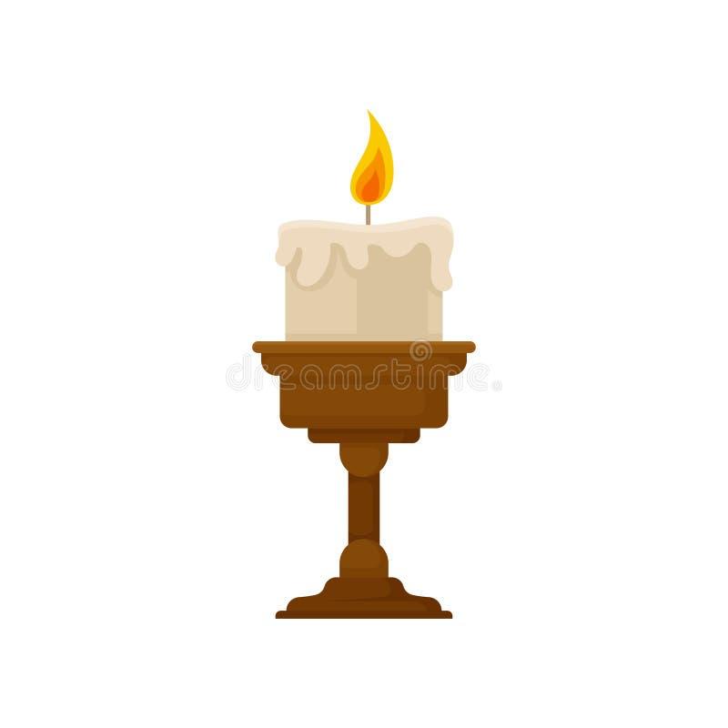 Горя свеча с плавя воском на небольшом бронзовом подсвечнике, винтажной иллюстрацией вектора держателя для свечи на белом иллюстрация штока