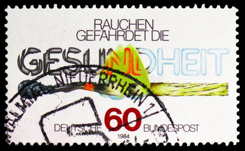 Горя спичка, анти- куря serie кампании, около 1984 стоковая фотография
