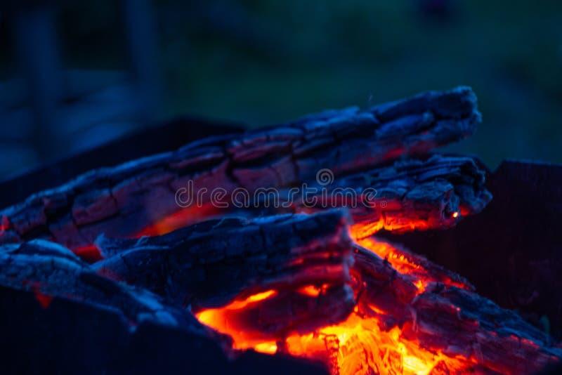 Горя угли в fireplase стоковое изображение rf
