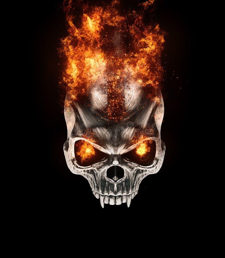 Горя череп вампира металла с глазами пылать бесплатная иллюстрация