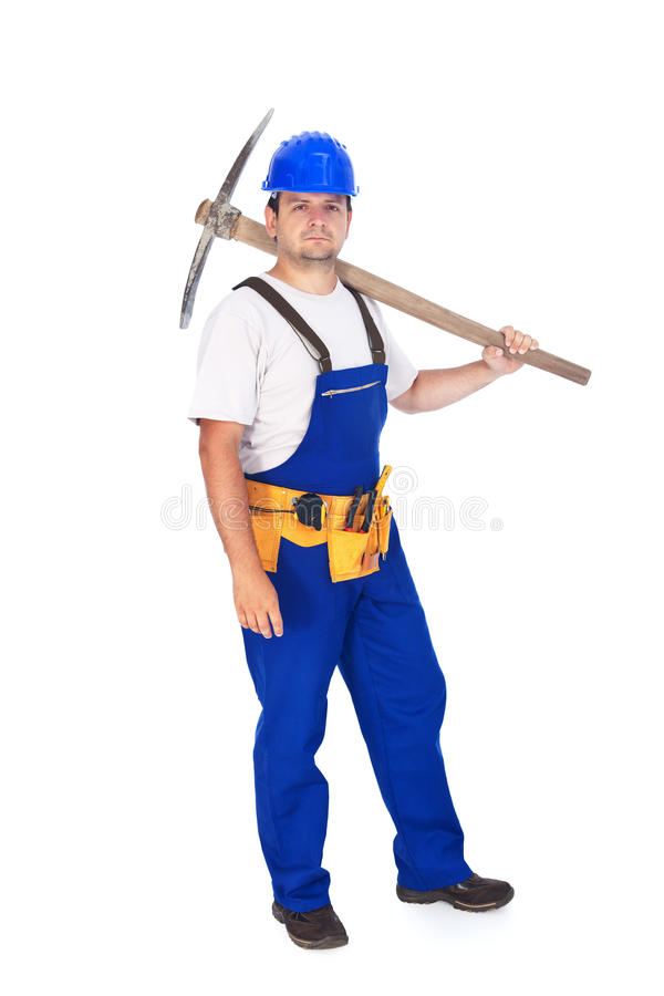 Download Гордый рабочий-строитель с щукой Стоковое Изображение - изображение насчитывающей плечо, выбор: 37931141