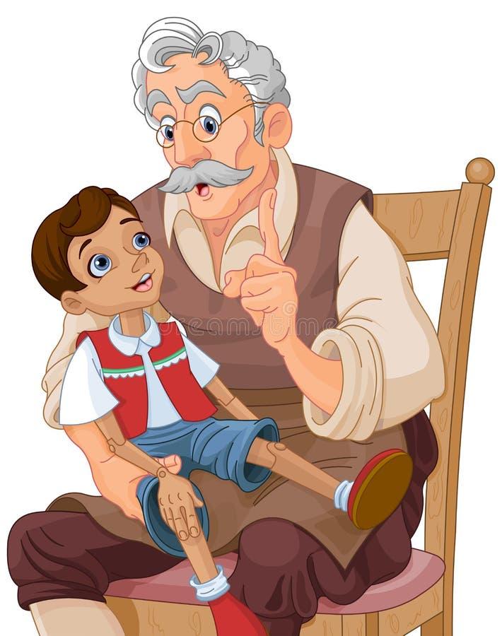 Господин Geppetto и Pinocchio иллюстрация штока