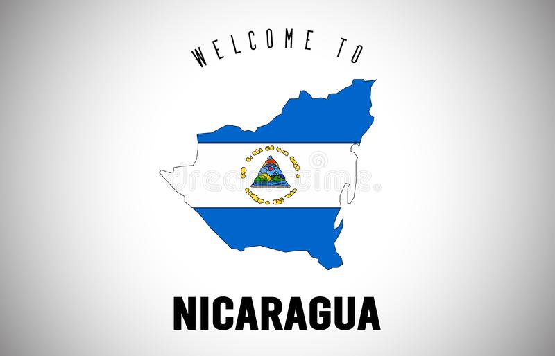 Гостеприимсво Никарагуа, который флаг нужно отправить SMS и стране внутри дизайна вектора карты границы страны бесплатная иллюстрация