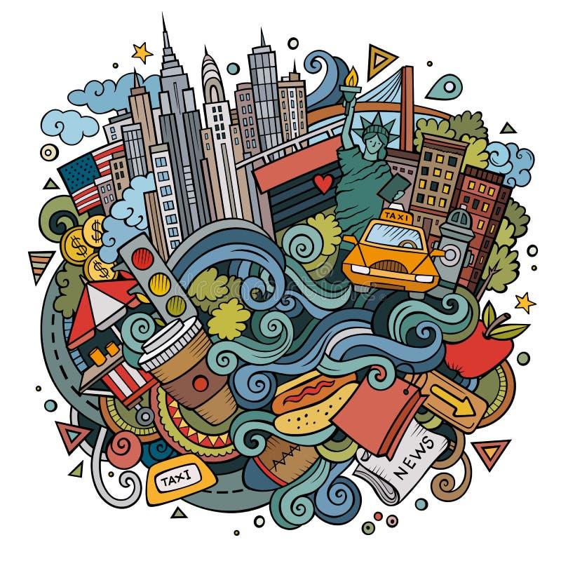 Гостеприимсво doodles шаржа милой нарисованное рукой к иллюстрации Нью-Йорка иллюстрация вектора