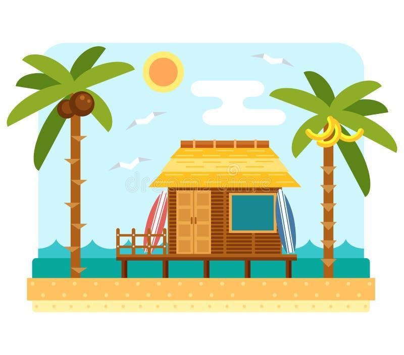 Гостиница бунгала пляжа иллюстрация вектора