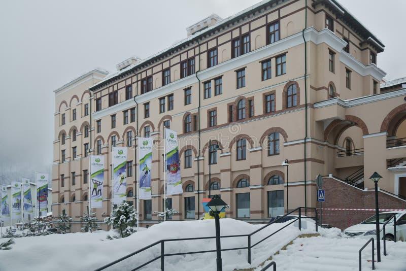 Гостиница в верхнем Gorod - курортный город панорамы Горького все-сезона 960 метров выше уровень моря стоковые фото