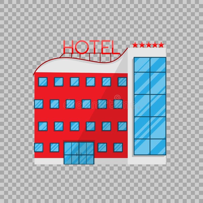 Гостиница в плоском стиле на прозрачной иллюстрации вектора предпосылки Дом отдыха архитектуры здания бесплатная иллюстрация