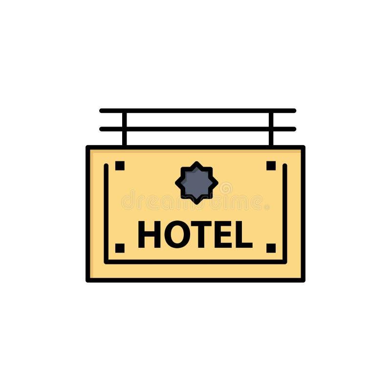 Гостиница, знак, доска, значок цвета направления плоский Шаблон знамени значка вектора бесплатная иллюстрация