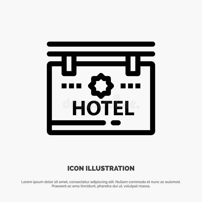 Гостиница, знак, доска, линия значок вектора положения иллюстрация штока
