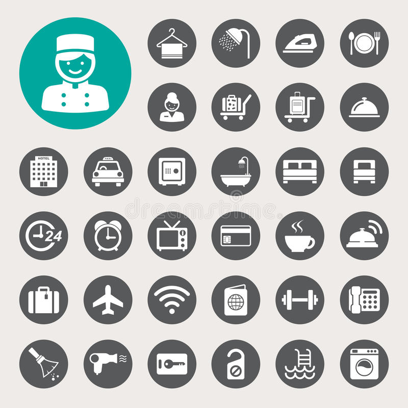 Гостиница и комплект значка перемещения бесплатная иллюстрация