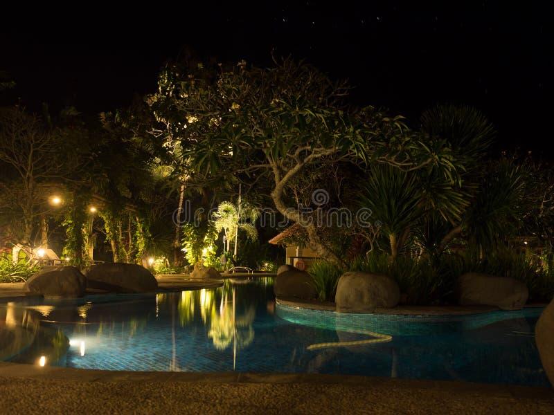 гостиница на заходе солнца, Бали, Индонезия стоковые фотографии rf
