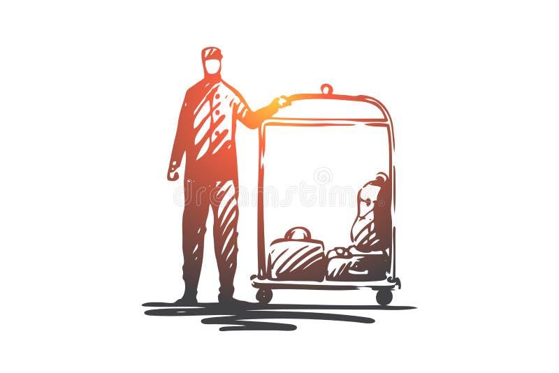 Гостиница, обслуживание, багаж, гостеприимсво, концепция консьержа Вектор руки вычерченный изолированный бесплатная иллюстрация