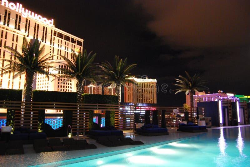 Гостиница Парижа и казино, ноча, свет, курорт, освещая стоковые изображения