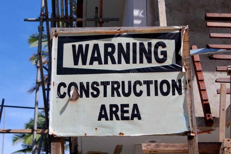 Гостиница под конструкцией, предупредительным знаком стоковые изображения rf