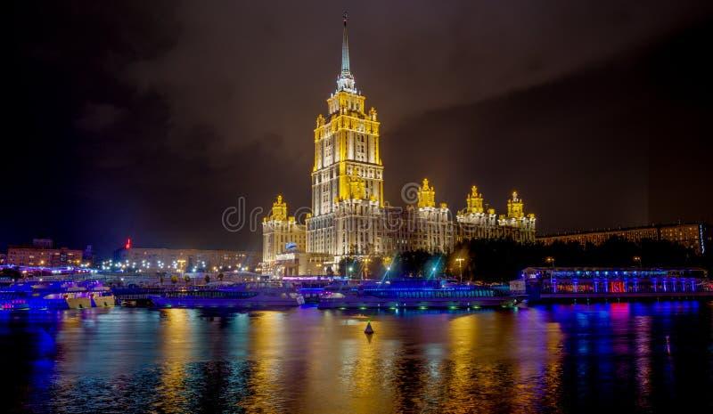 Гостиница Украина на ноче, Москва стоковые фотографии rf
