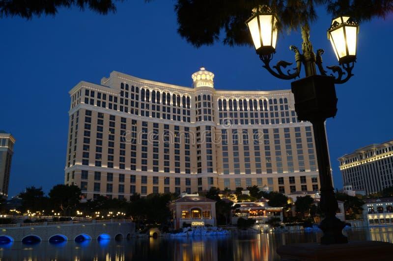 Гостиница Bellagio, Лас-Вегас на ноче стоковые изображения rf