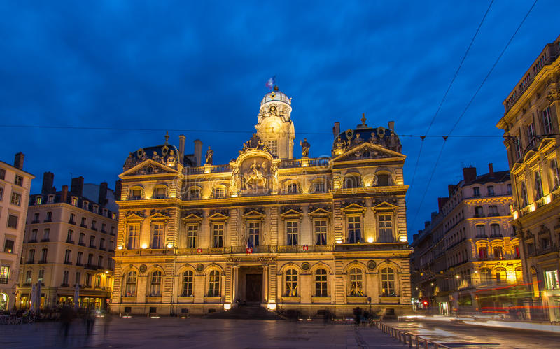 Гостиница de ville (здание муниципалитет) в Лионе, Франции стоковое изображение