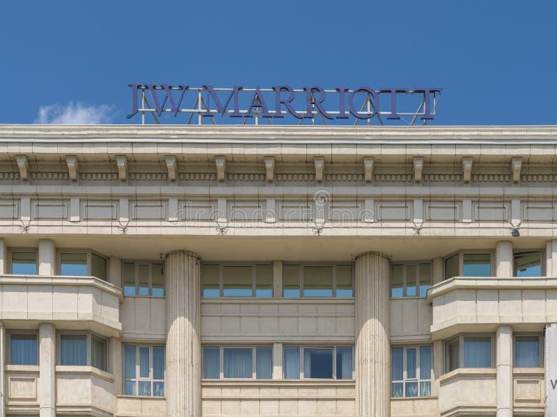 Гостиница Jw Marriott Бухареста грандиозная стоковые изображения rf