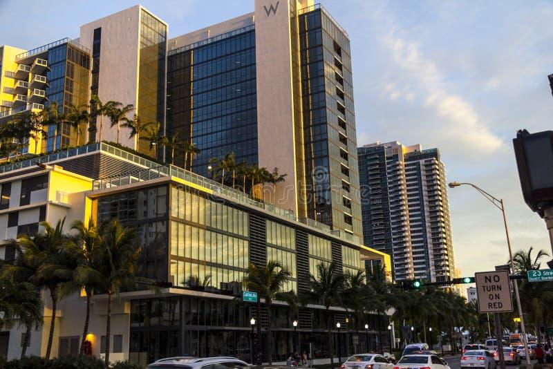 Гостиницы в городе Майами стоковое изображение