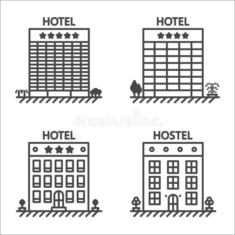 Гостиницы и линия комплект общежития значка вектора иллюстрация штока