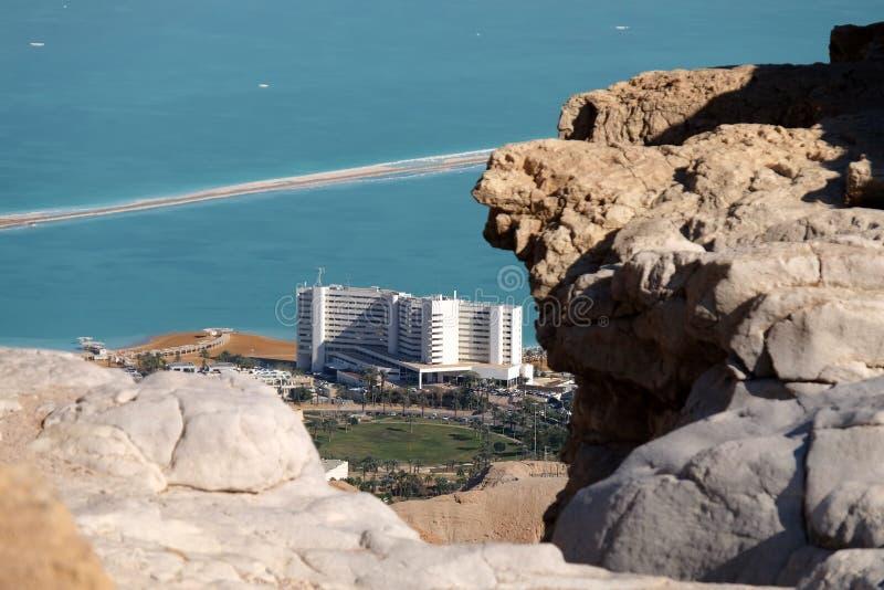 Гостиницы Ein Bokek сверху стоковые изображения rf