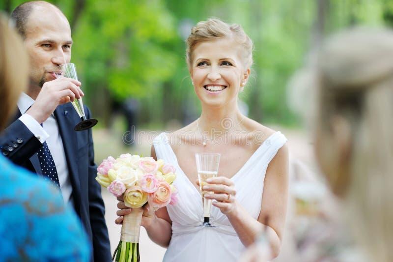 Гости свадьбы провозглашать жених и невеста стоковые фото