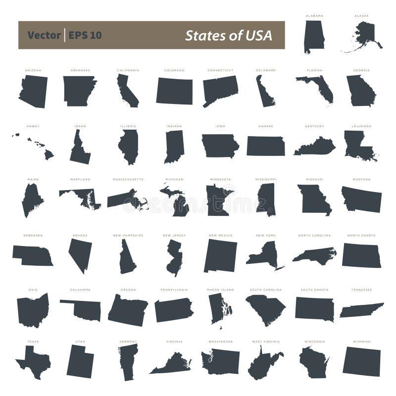 Государства дизайна иллюстрации шаблона вектора карты США установленного иллюстрация вектора