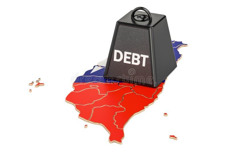 Государственная задолженность Тайваня или бюджетный дефицит, концепция финансового кризиса иллюстрация вектора