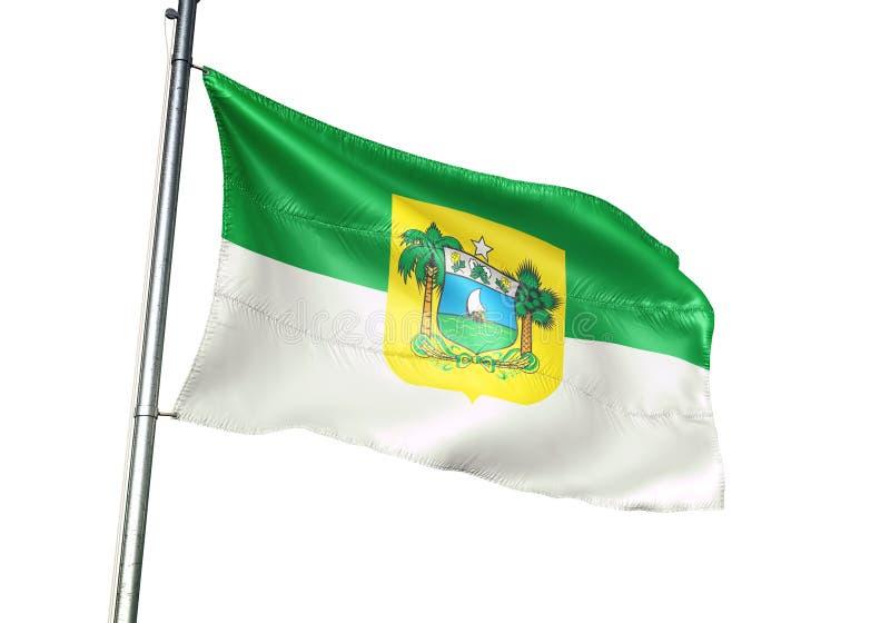 Государство Риу-Гранди-ду-Норти развевать флага Brazi изолированное на иллюстрации 3d белой предпосылки реалистической иллюстрация штока