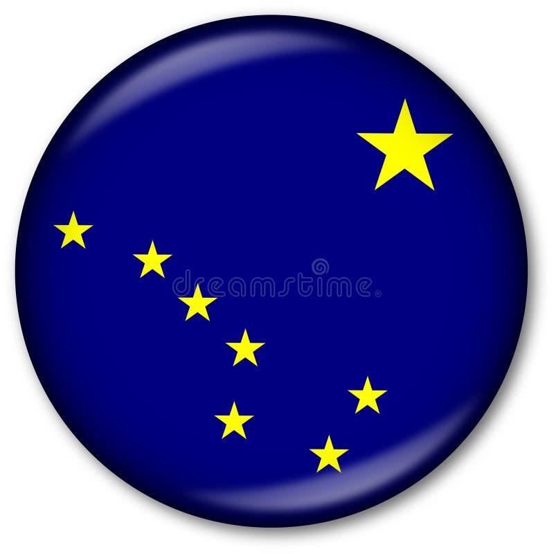 государство флага кнопки Аляски иллюстрация вектора