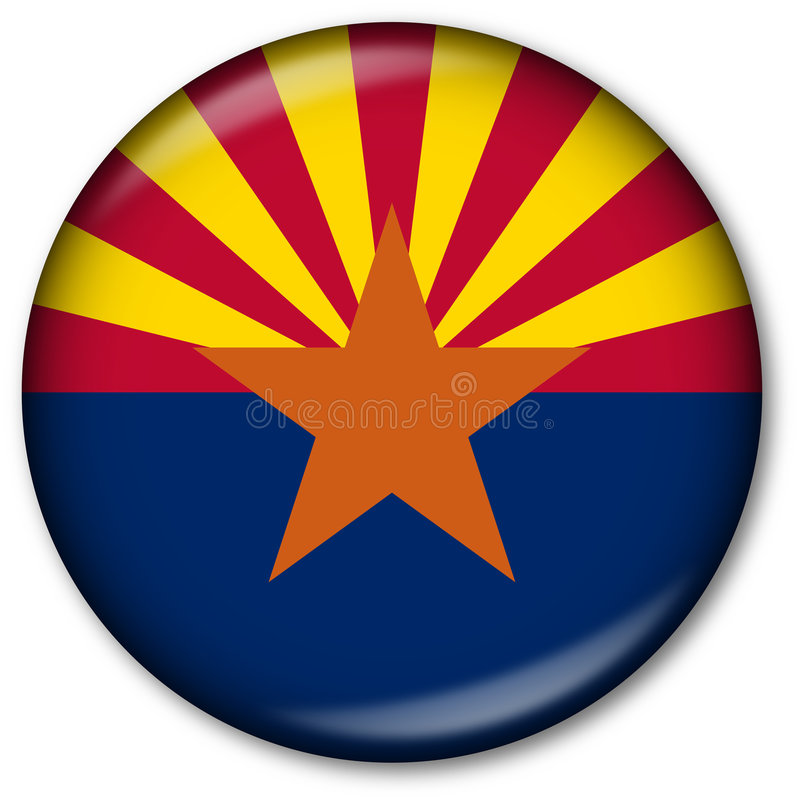 государство флага кнопки Аризоны стоковое фото