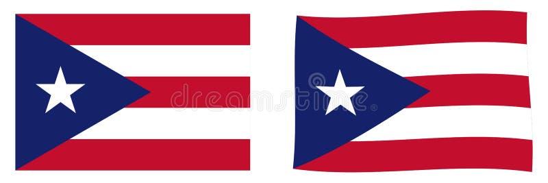 Государство флага Пуэрто-Рико Простое и немножко развевая ver иллюстрация вектора