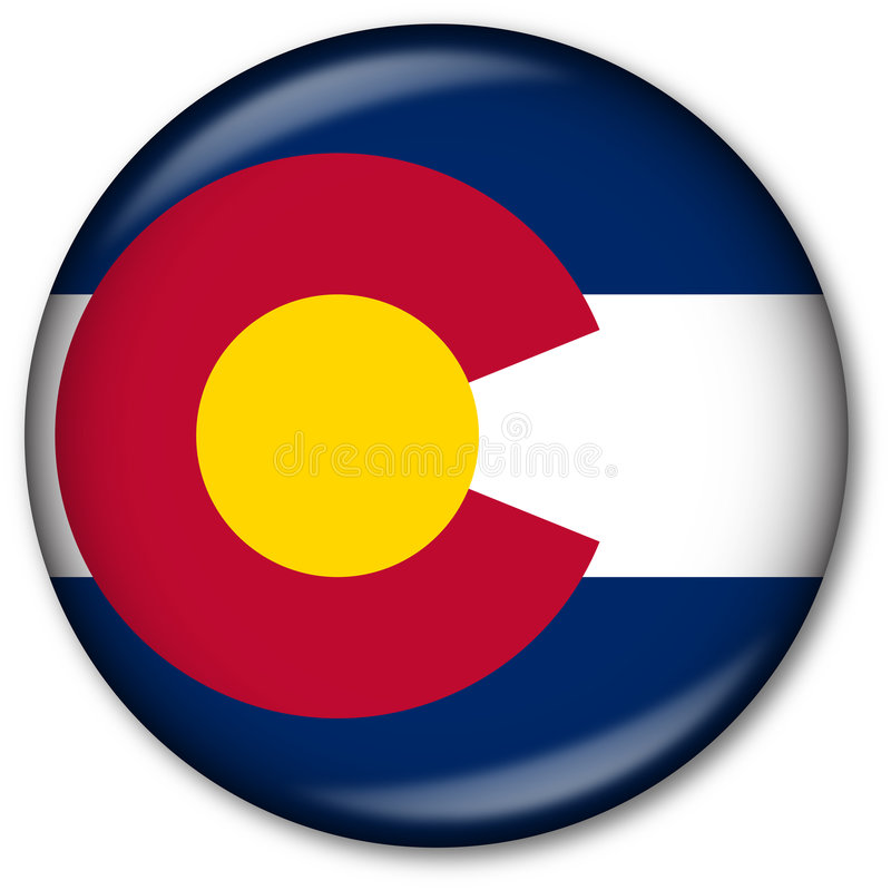 государство флага colorado кнопки иллюстрация вектора