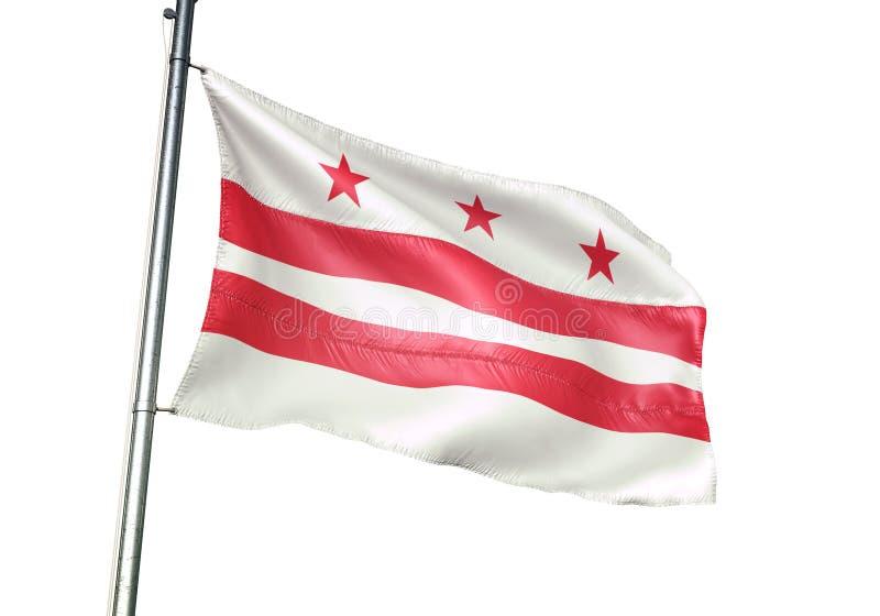 Государство DC Вашингтона развевать флага Соединенных Штатов изолированное на иллюстрации 3d белой предпосылки реалистической бесплатная иллюстрация