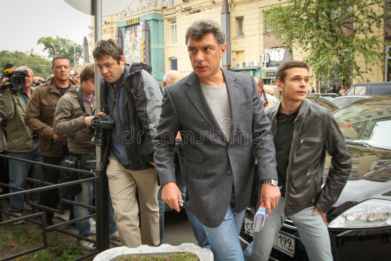 Государственный деятель Бориса Nemtsov русский, один из руководителей оппозиции во время ралли стоковые фото