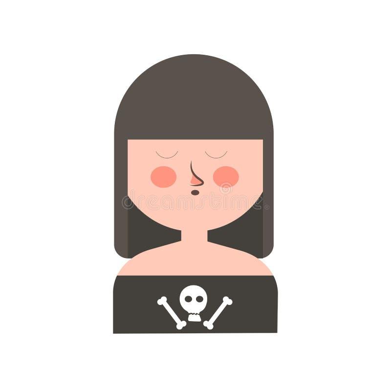 Готическая девушка с темными волосами и черепом на рубашке бесплатная иллюстрация