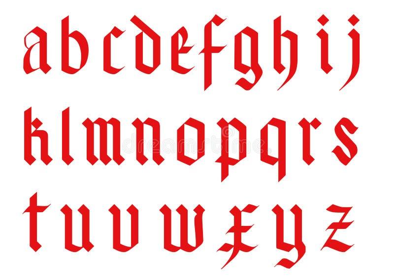 Готический алфавит шрифта - старые письма вектора abc почерка иллюстрация вектора