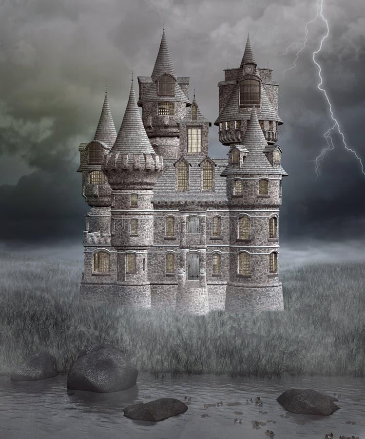 Готический загадочный замок иллюстрация вектора