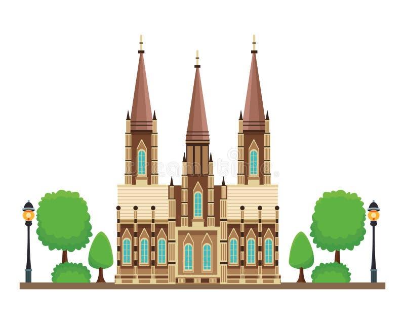 Готический значок собора иллюстрация штока