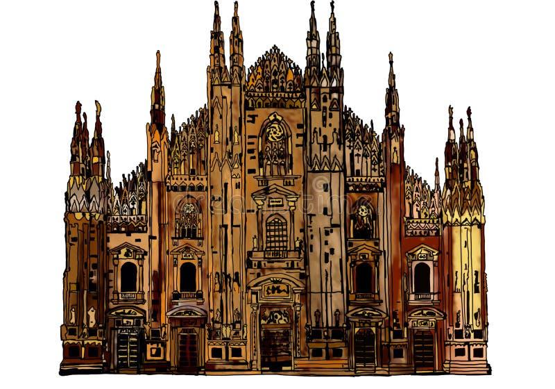 Готический собор милана бесплатная иллюстрация