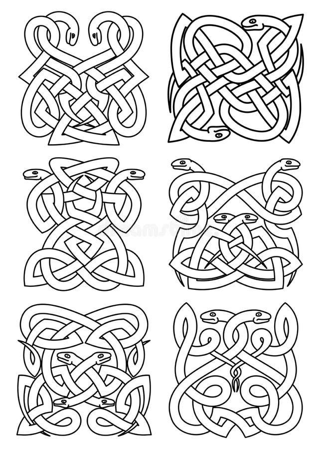 Готический celtic snakes картины узла иллюстрация вектора