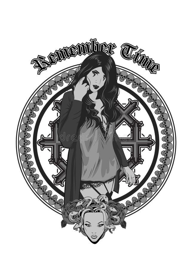 Готическое vempire дьявола как девушка ведьмы Вспомните время Хеллоуин, татуировка, странное, психоделическое искусство для печат стоковые изображения rf