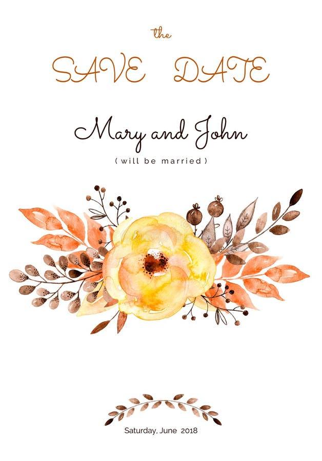 Готовая красивая карточка свадьбы желтых цветков и листьев иллюстрация штока