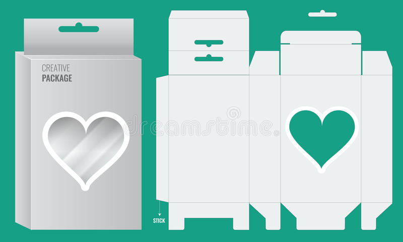Готовый дизайн коробки с отверстиями смертной казни через повешение полки и прозрачное сердце формируют окно иллюстрация штока